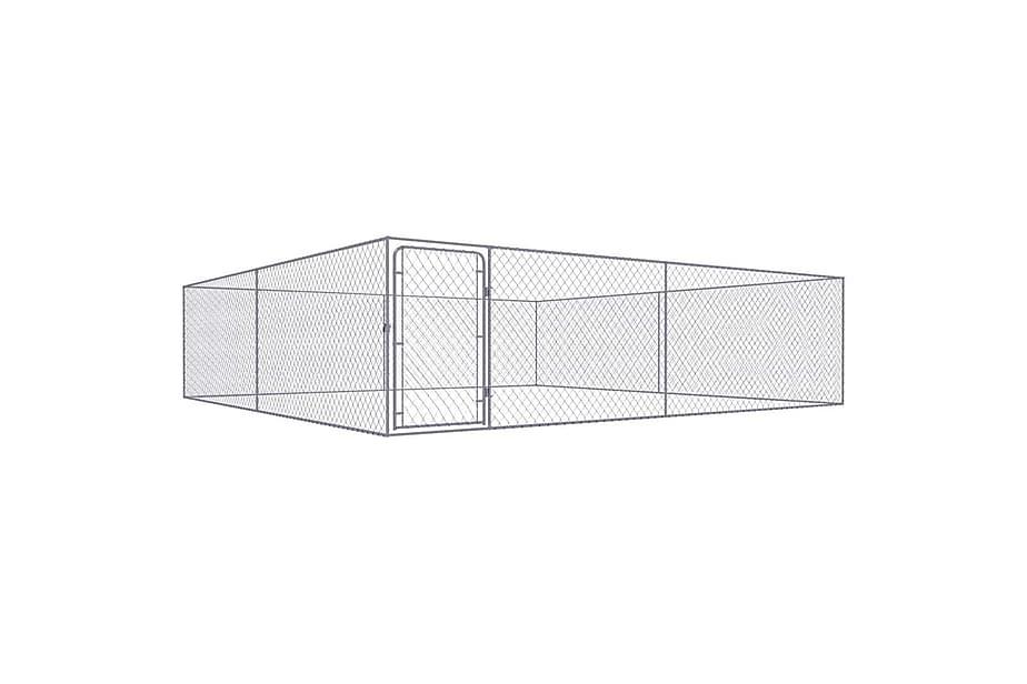 Utendørs hundegård galvanisert stål 4x4 m