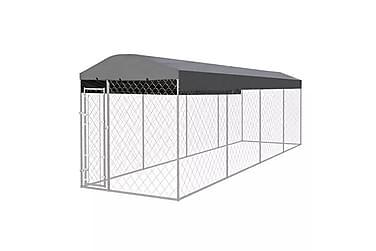 Utendørs hundegård med tak 8x2 m