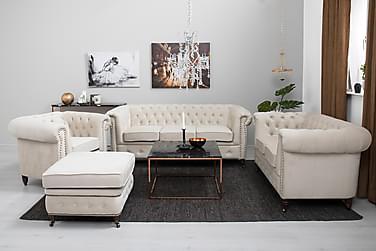 Sofagruppe Chester Deluxe Lenestol+Fotskammel