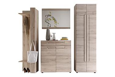 Oppbevaringssett Malea Garderobe + Speil + Skoskap + Hyllepa