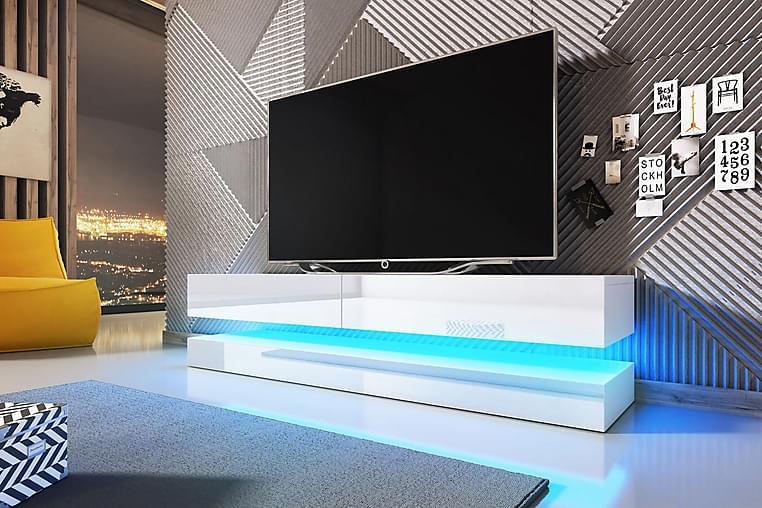 TV-benk Dublin 140 cm LED-belysning - Hvit - Møbler - TV- & Mediamøbler - TV-benk & mediabenk