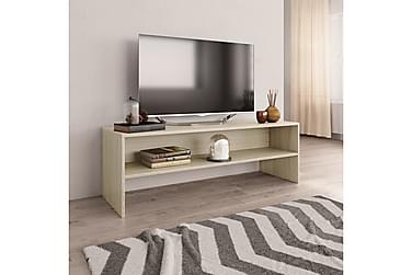 TV-benk hvit og sonoma eik 120x40x40 cm sponplate