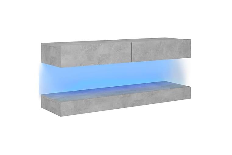 TV-benk med LED-lys betonggrå 120x35 cm - Grå - Møbler - TV- & Mediamøbler - TV-benk & mediabenk