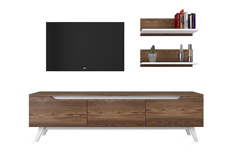 TV-Benk Horveryd 180 cm - Hvit|Brun - Møbler - TV- & Mediamøbler - TV-møbelsett