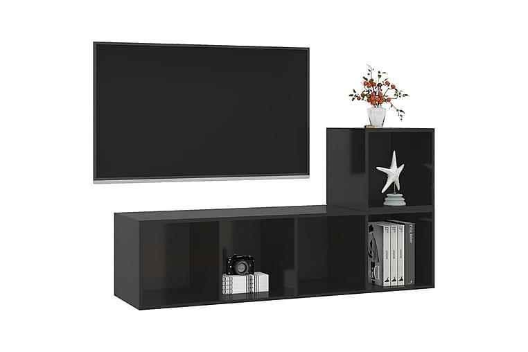 TV-benksett 2 deler höyglans svart sponplate - Svart - Møbler - TV- & Mediamøbler - TV-skap