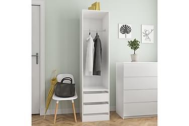 Garderobe med skuffer høyglans hvit 50x50x200 cm sponplate