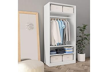 Garderobeskap hvit 100x50x200 cm sponplate