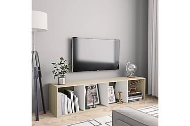 Bokhylle/TV-benk hvit og sonoma eik 143x30x36 cm