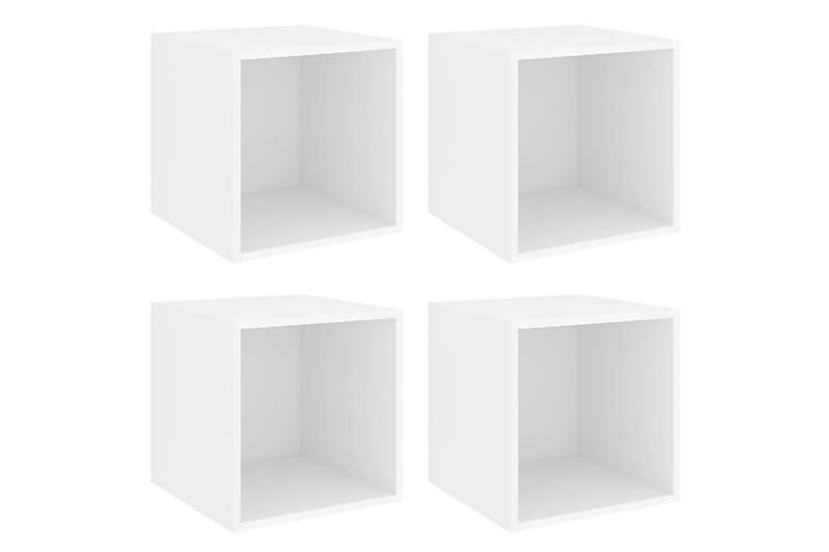 Veggskap i 4 stk 37x37x37 cm sponplate hvit - Hvit - Møbler - Oppbevaring - Oppbevaringsskap