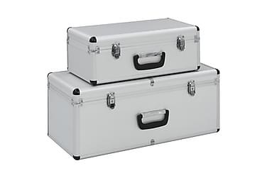 Oppbevaringskasser 2 stk sølv aluminium