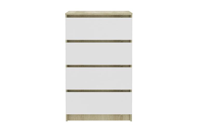 Skjenk hvit og sonoma eik 60x35x98,5 cm sponplate - Møbler - Oppbevaring - Sideboard & skjenk