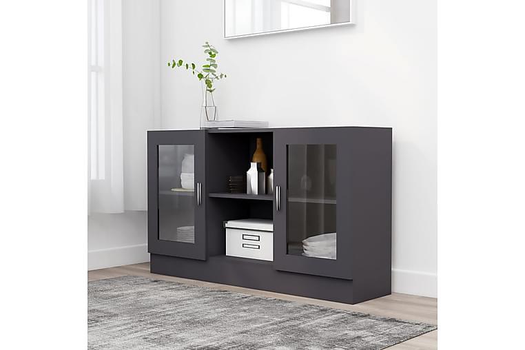 Vitrineskap grå 120x30,5x70 cm sponplate - Grå - Møbler - Oppbevaring - Vitrineskap