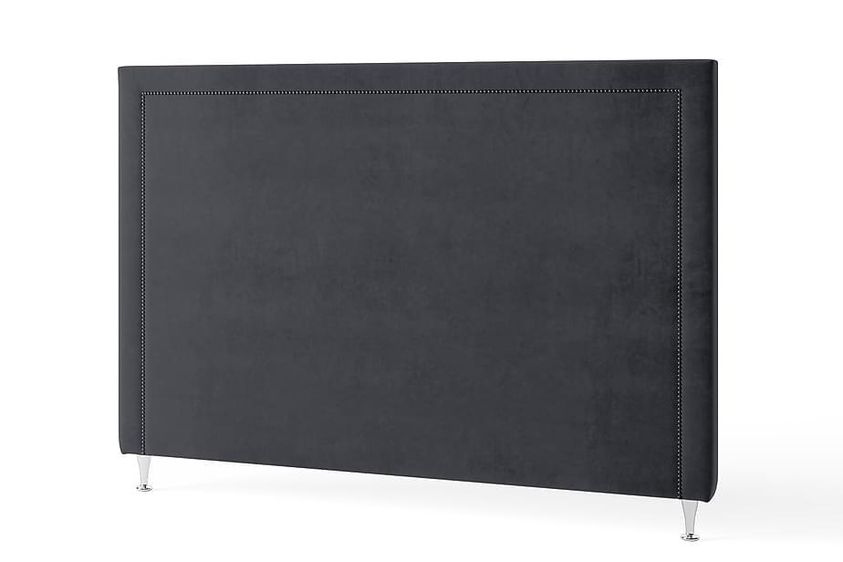 Sengegavl 160 cm Grafittnagler Fløyel Grå