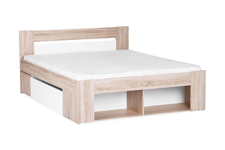 Sengeramme Cozzi med Oppbevaring 140x200 + Nattbord - Hvit|Eik - Møbler - Senger - Sengeramme & sengestamme