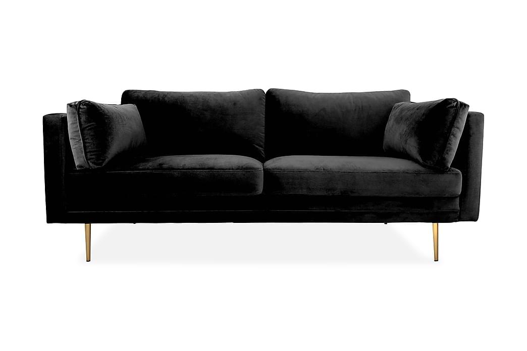 Fløyelssofa Arianos 3-seter - Svart - Møbler - Sofaer - 2-4-seters sofaer