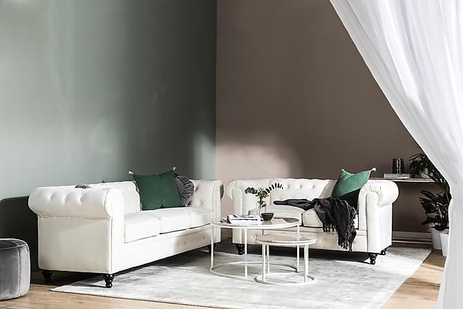 Sofa Walton Lyx 2-seter Beige Fløyel - Hvit - Møbler - Sofaer - 2-4-seters sofaer