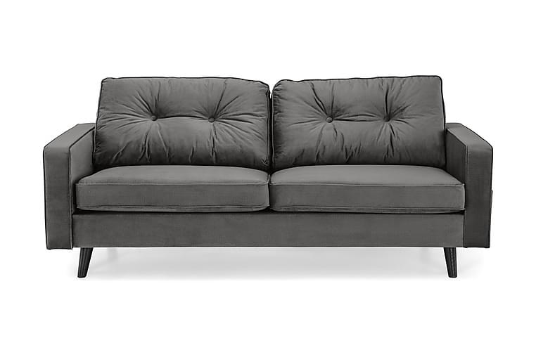 Fløyelssofa Miller 3-seter - Mørkgrå - Møbler - Sofaer - 2-4-seters sofaer
