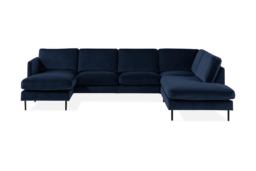 U-sofa Elion med Divan Fløyel Venstre - Blå - Møbler - Sofaer - Sofaer med sjeselong & U-sofaer