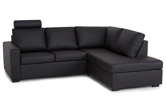 Sofa Nevada 2-seter med Sjeselong Høyre Kunstlær - Svart - Møbler - Sofaer - Sofaer med sjeselong & U-sofaer