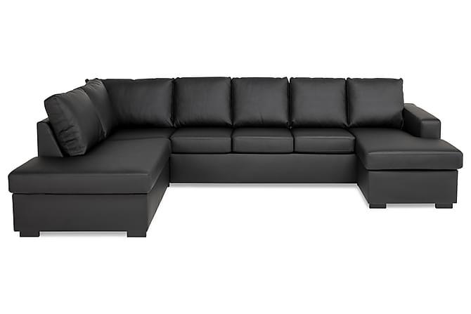 U-sofa Nevada XXL Divan Høyre - Svart Kunstlær - Møbler - Sofaer - Sofaer med sjeselong & U-sofaer