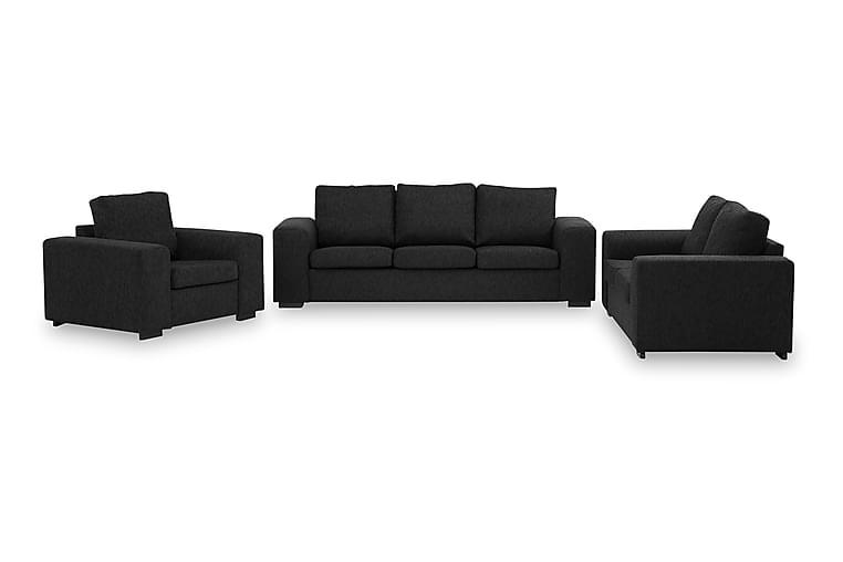 Sofagruppe Alter 3-seter+2-seter+Lenestol - Svart - Møbler - Sofaer - Sofagrupper