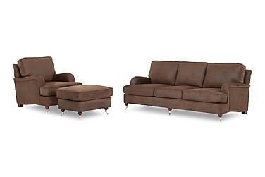 Sofagruppe Bingley 3-seter+Lenestol+Fotskammel Kunstlær