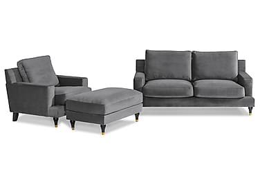 Sofagruppe Bogesund 2-seter+Lenestol+Fotskammel Fløyel