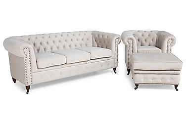 Sofagruppe Chester Deluxe 3-seter+Lenestol+Fotskammel Fløyel