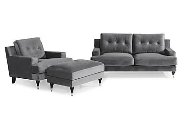 Sofagruppe Covington 2-seter+Lenestol+Fotskammel Fløyel