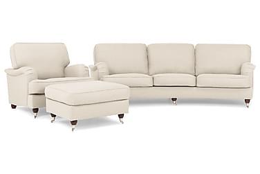 Sofagruppe Howard Oxford 4-seter+Lenestol+Fotskammel