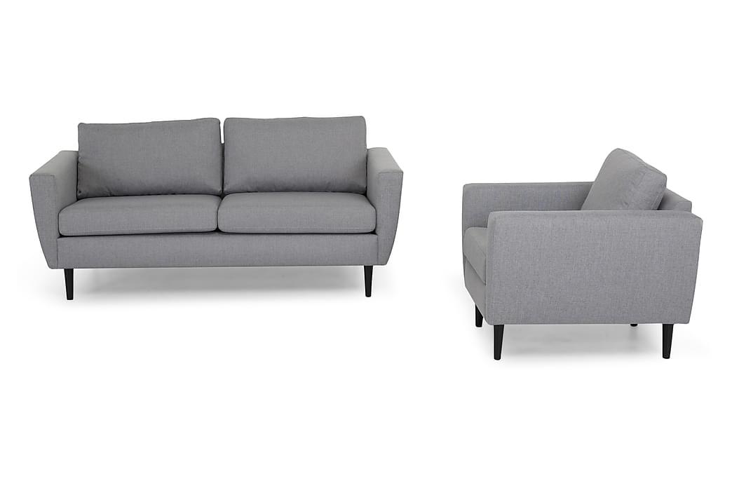 Sofagruppe Hudson 3-seter+Lenestol - Lysgrå Svart - Møbler - Sofaer - Sofagrupper