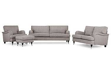 Sofagruppe Oxford Classic 2+3,5-seter+Lenestol+Fotskammel