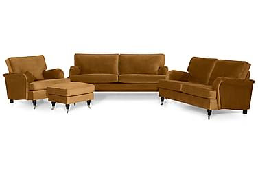 Sofagruppe Oxford Classic 2-seter+3,5-seter+Lenestol+Fotskam