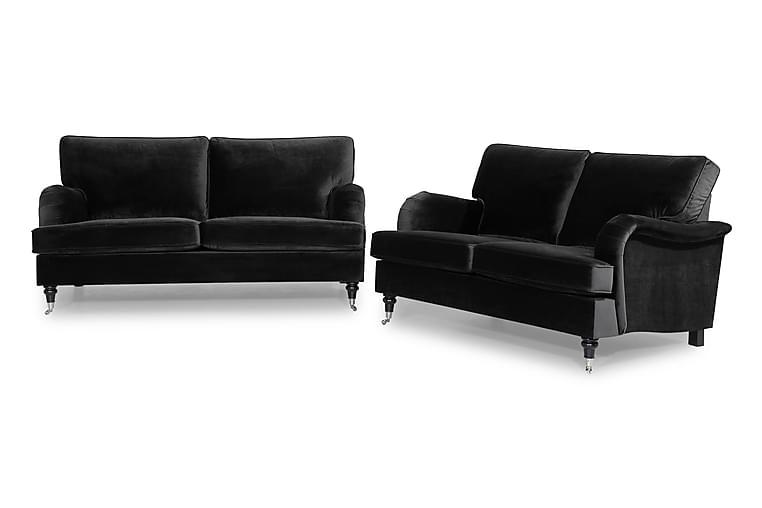 Sofagruppe Oxford Classic 3-seter+2-seter Fløyel - Svart - Møbler - Sofaer - Sofagrupper