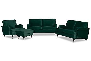 Sofagruppe Oxford Classic 3-seter+2-seter+Lenestol+Fotskamme