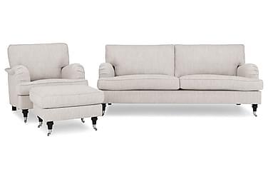 Sofagruppe Oxford Classic 3,5+Lenestol+Fotskammel