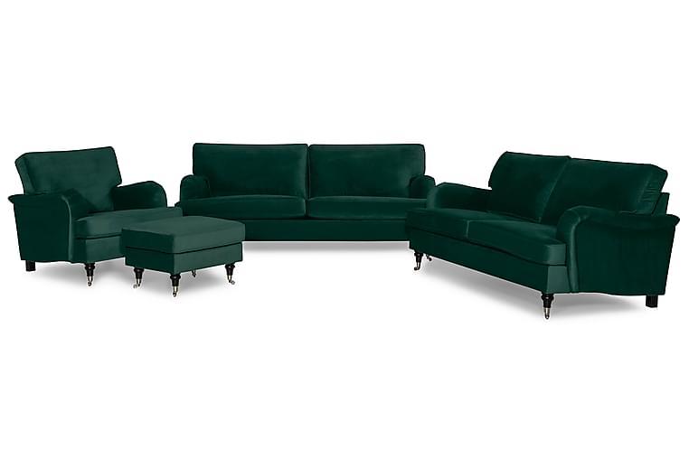 Sofagruppe Oxford Classic 3,5-seter+3-seter+Lenestol+Fotskam - Mørkgrønn - Møbler - Sofaer - Sofagrupper