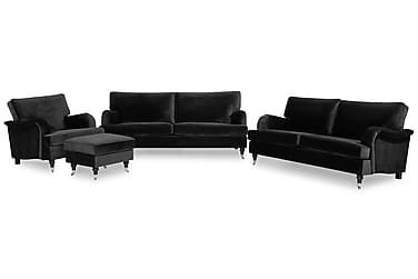 Sofagruppe Oxford Classic 3,5-seter+3-seter+Lenestol+Fotskam
