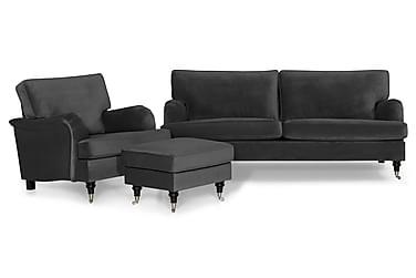 Sofagruppe Oxford Classic 3,5-seter+Lenestol+Fotskammel Fløy