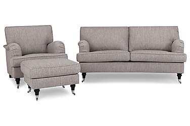 Sofagruppe Oxford Classic Buet 2-seter+Lenestol+Fotskammel