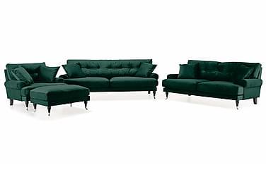 Sofagruppe Webber 3-seter+2-seter+Lenestol+Fotskammel Fløyel