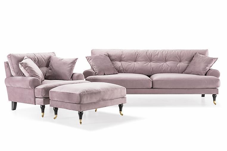 Sofagruppe Webber 3-seter+Lenestol+Fotskammel Fløyel - Lilla|Messing - Møbler - Sofaer - Sofagrupper