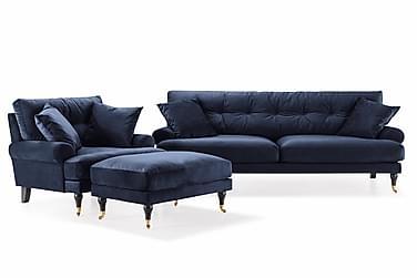 Sofagruppe Webber 3-seter+Lenestol+Fotskammel Fløyel