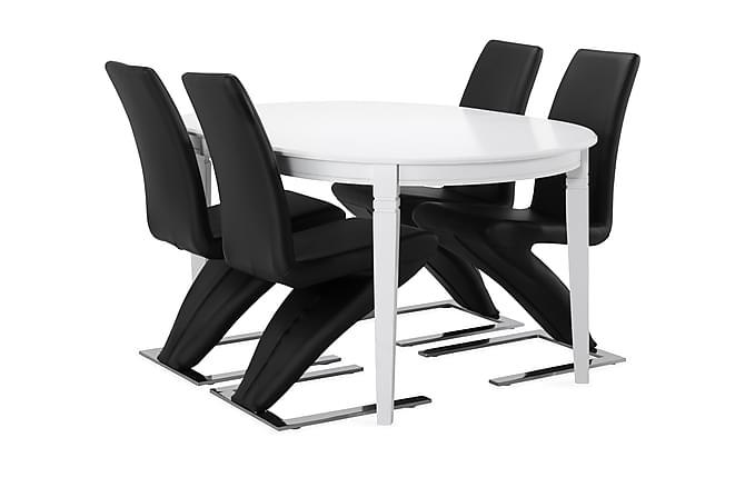 Spisebord Lowisa med 4 Ophelia stoler - Svart|Krom - Møbler - Spisegrupper - Oval spisegruppe
