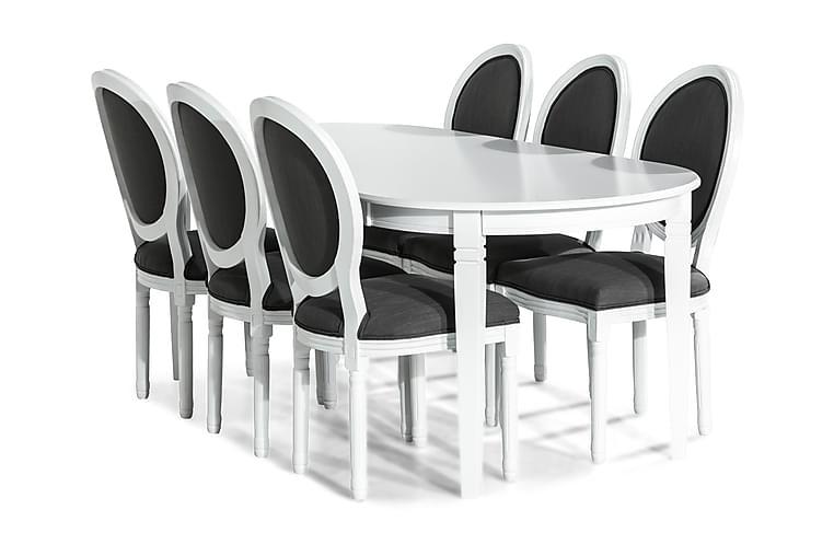 Spisegruppe Lowisa 200 cm med 6 Wisle Stol - Vintage Alm Grå - Møbler - Spisegrupper - Oval spisegruppe