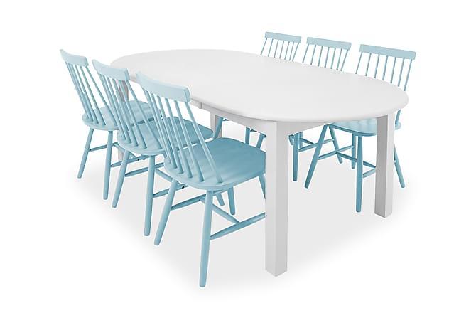 Spisegruppe Siri 160 cm Oval med 6 Roar Stoler - Hvit|Blå - Møbler - Spisegrupper - Oval spisegruppe