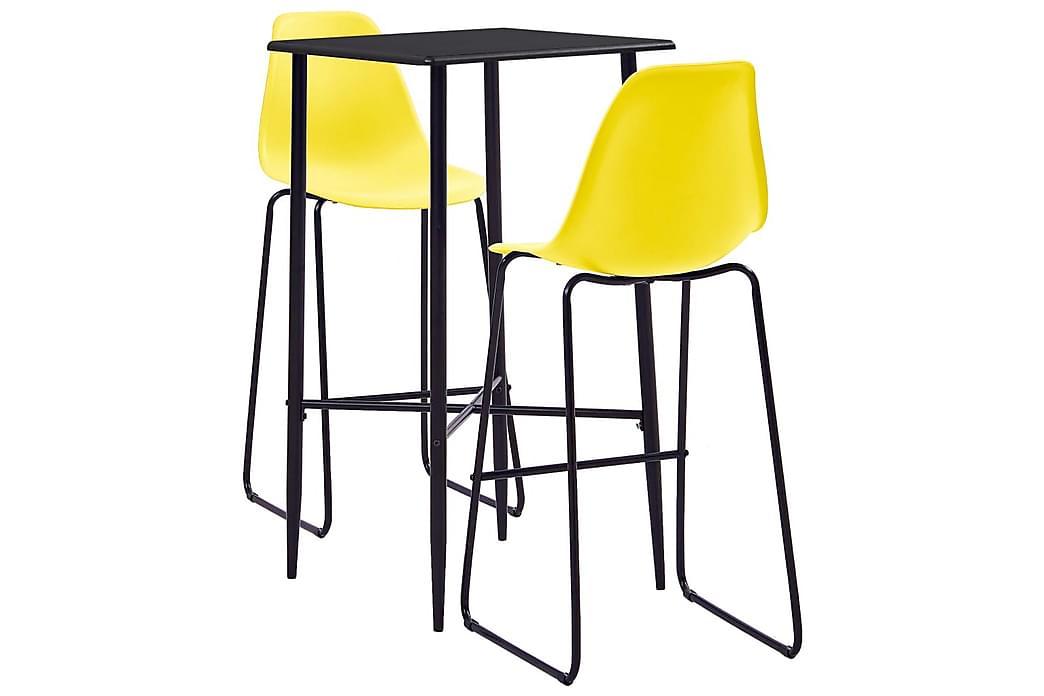 Barsett 3 deler plast gul - Møbler - Spisegrupper - Rektangulær spisegruppe