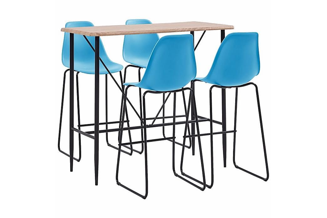 Barsett 5 deler plast blå - Møbler - Spisegrupper - Rektangulær spisegruppe
