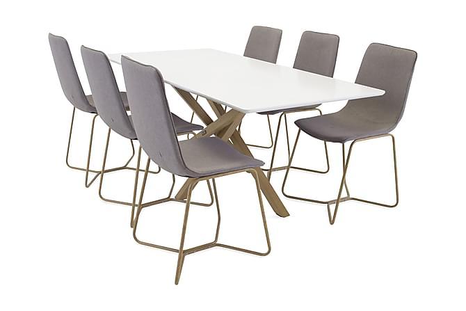 Spisegruppe Arnulf med 6 Theresa Stoler - Hvit/Grå - Møbler - Spisegrupper - Rektangulær spisegruppe