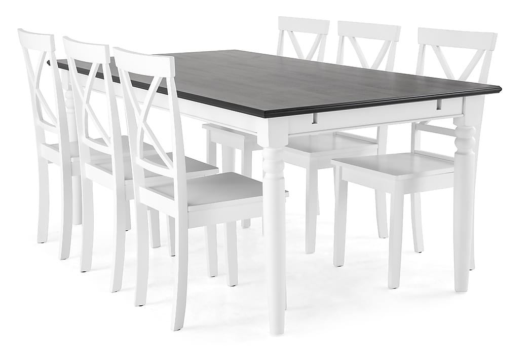 Spisegruppe Hampton 190 cm Mahognifiner Hvit/Svart - 6 Nadica Stoler - Møbler - Spisegrupper - Rektangulær spisegruppe